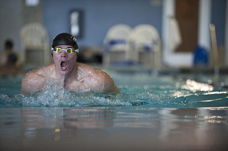 Natació, competència, nedador, ulleres, gorra, . braça, piscina