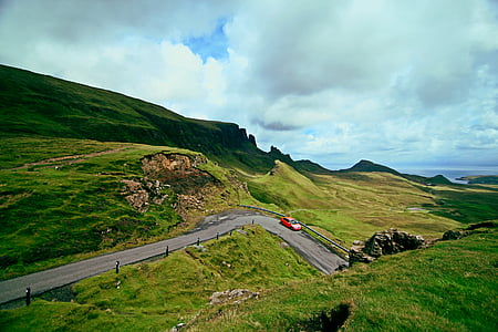 car, countryside, grass, green, hills, landscape, meadow