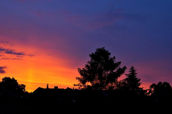 Вечер, Сумерки, небо, вечернее небо