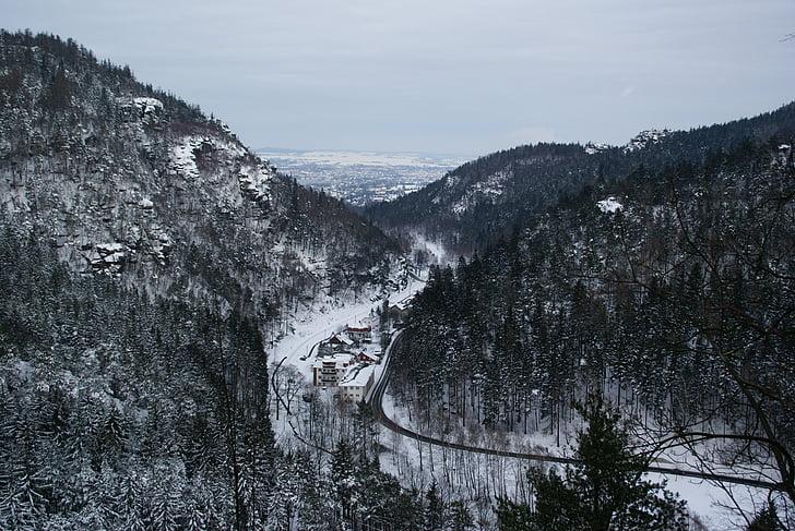 zittau, mountains, zittau mountains, oybin, snow, winter, mountain