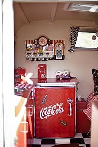 coca cola, rv, refrigerator, vintage, car, classic, automobiles