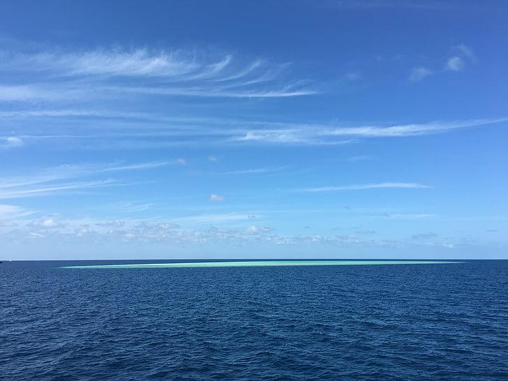 blauwe hemel, de zee, eiland, zee, blauw, natuur, hemel