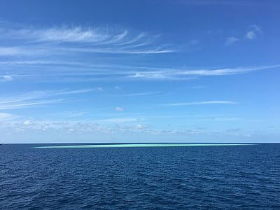 blue sky, the sea, island, sea, blue, nature, sky