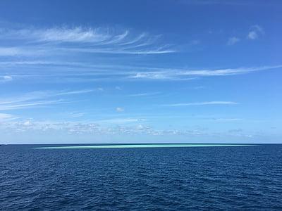 blå himmel, havet, ø, havet, blå, natur, Sky