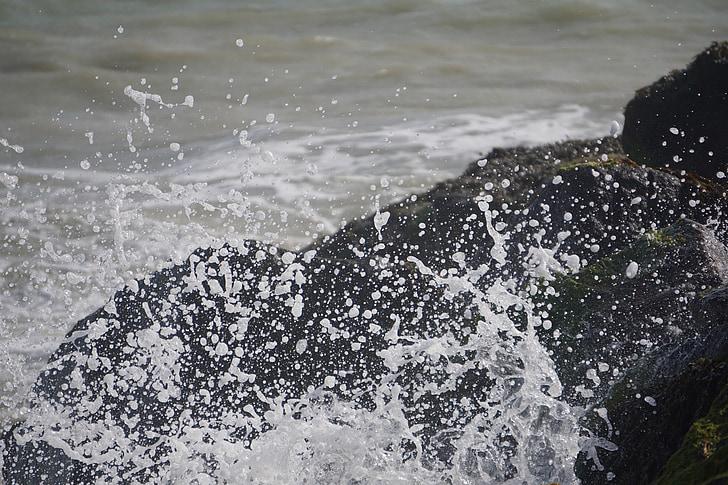 spray, víz, rock, tengerpart, természet, tenger, Surf