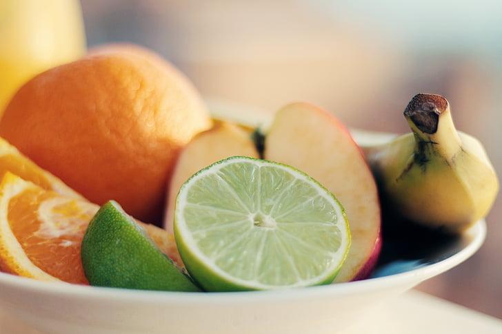szeletelt, gyümölcsök, aranyozott, táblázat, narancs, lime, Alma