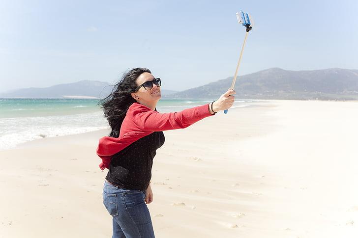 beach, women, portrait, selfie