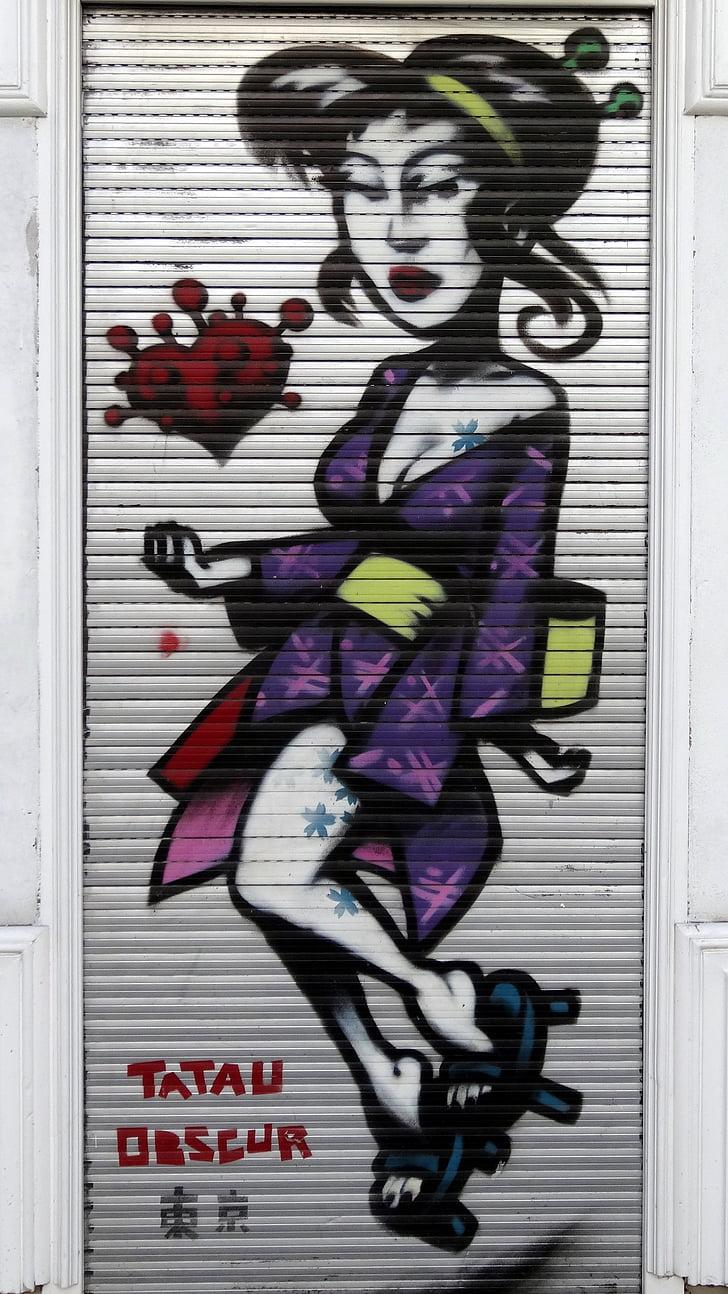 cortina, graffiti, dona, tatuatge, Berlín