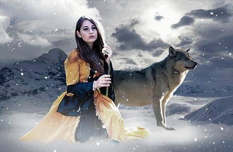 gothic, fantasy, female, lady, mystery, winter, emotional