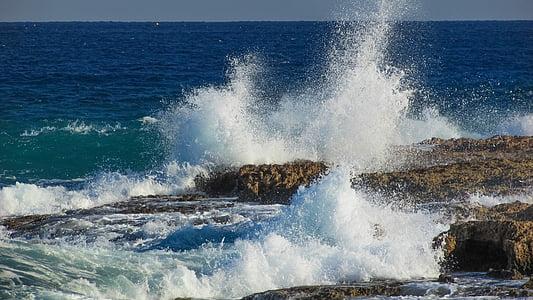 κύμα, χάρμα, στη θάλασσα, φύση, smash, βουτιά, λευκό