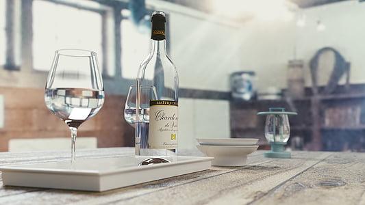 ampolla, vi, l'alcohol, beguda, líquid, vinya, taula