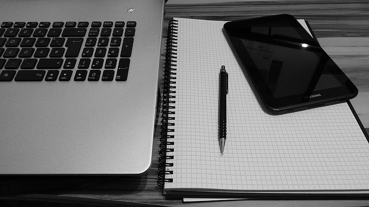 portàtil, comprimit, Oficina a casa, Oficina, Notes, treball