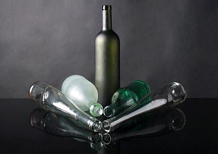 vidre, l'ampolla, composició, estudi, una ampolla de, bodegons, fotos