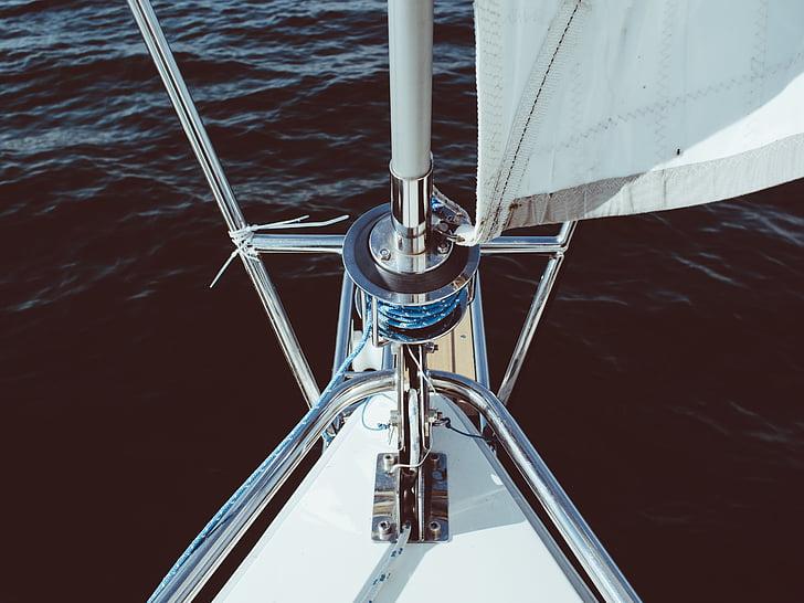 äventyr, båt, vev, sjön, mast, segel, segling
