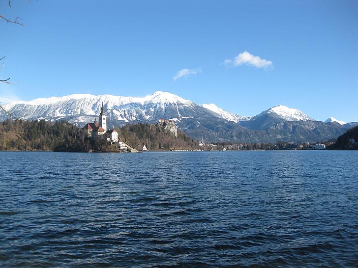 lake, mountains, castle, landscape, bled, slovenia, winter