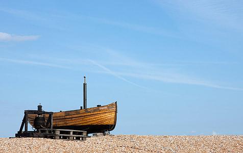 vaixell de pesca, vaixell, fusta, vaixell de pesca de fusta, blau, cel, bonica