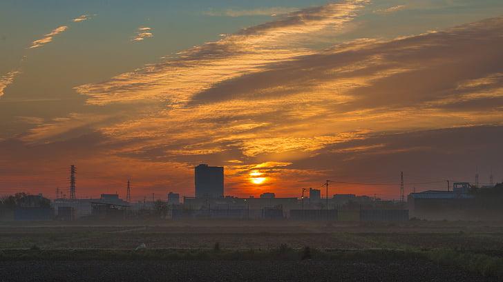 Sunrise, hommikul päike, pilve, hommikul, chenguang, puhkeb, väli sunrise