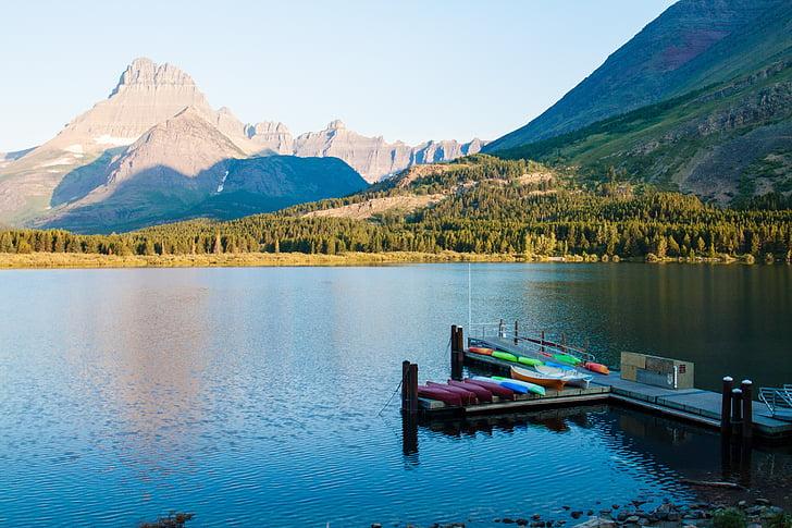 Llac actual ràpida, glacera, panoràmica, Montana, Llac, Glacera del parc nacional, muntanyes