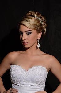 bride, marriage, girl, young, woman, white dress, hairstyle