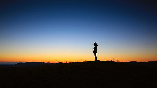 Sunset, fred, ensomhed, ro, natur, stilhed, person