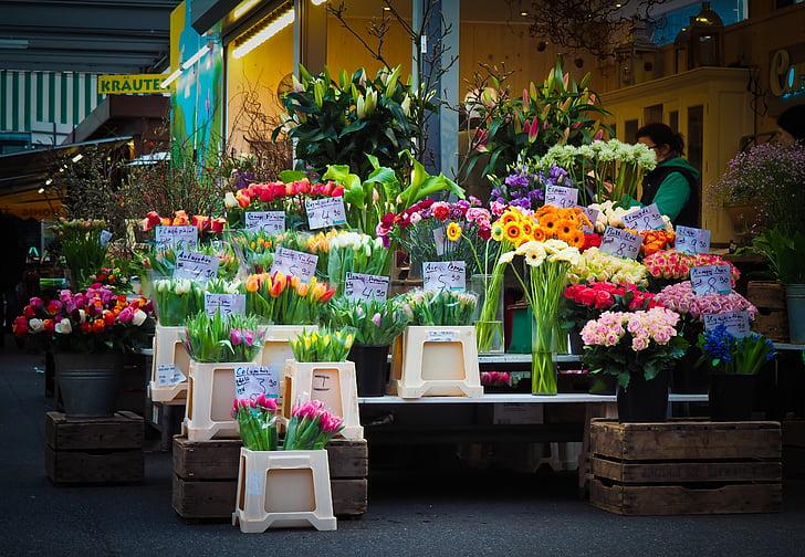 рынок, Цветы, местные фермеры рынка, был цветы, цветок торговли, стойло рынка, Цветы для продажи