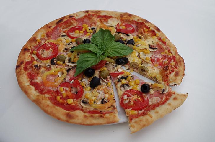Pizza, bazalka, olivy, jedlo, krájaná, odkrojená, trojuholník
