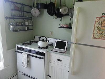 ห้องครัว, ipad, เตา, ล้าสมัย, ทันสมัย, หม้อ, กระทะ