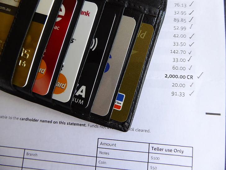 luottokortti, Bill, pankki, lausunto, rahaa, muovi, kortti