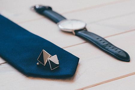 black, white, analog, watch, blue, necktie, cufflings