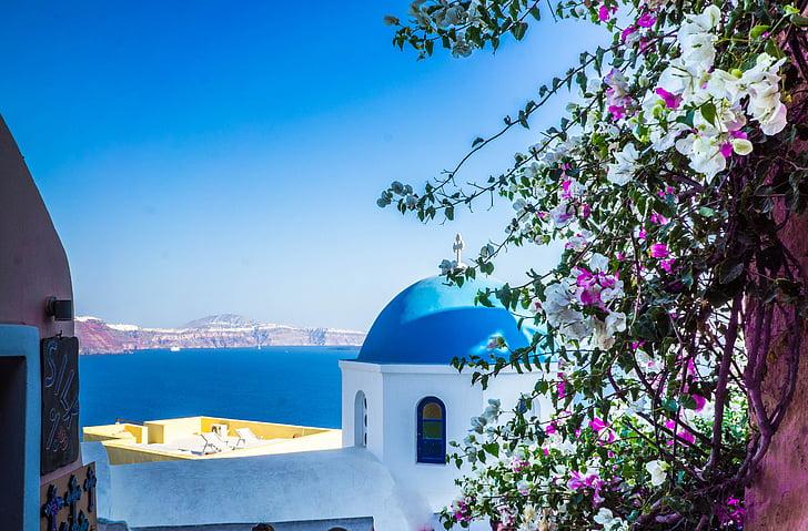 Santorini, Oia, arhitektura, Grčija, modra, bela, otok