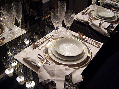 table à manger, plats, coutellerie, bols, Bureau bien rangé, plaque, Tableau