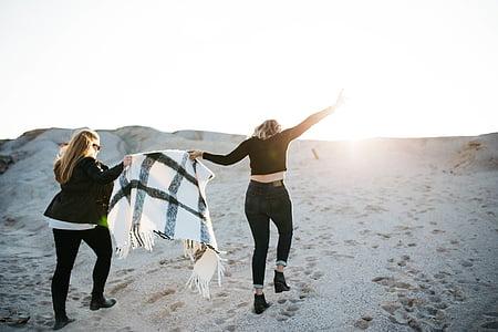 two, women, s, holding, white, textile, walking
