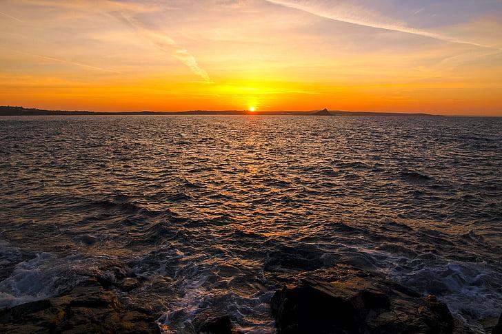 landskap, soluppgång, havet, Cornwall, solnedgång, naturen, skymning