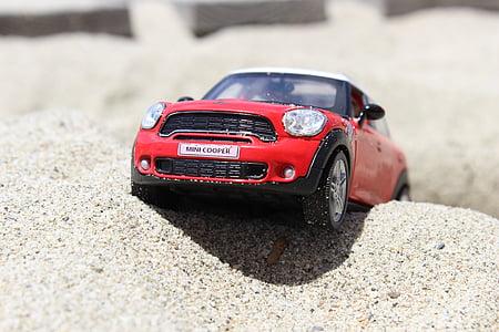 samochód, Mini cooper, miniaturowe, Model samochodu, piasek, Zabawka