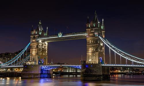 bridge, night, city, london, river, thames, landmark