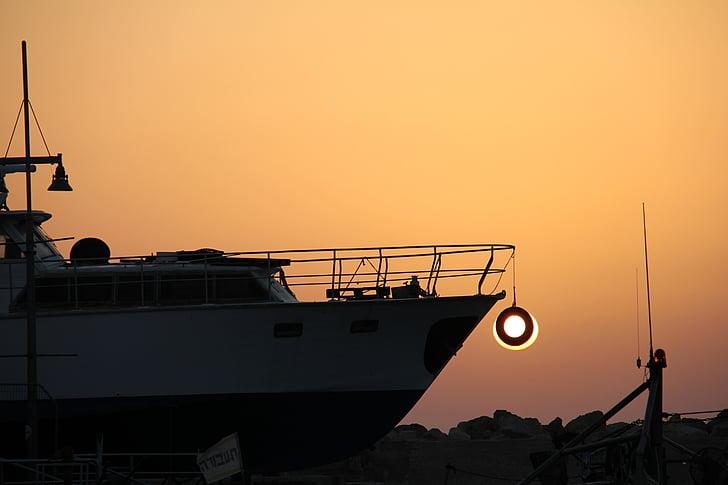vaixell, pneumàtic, nit, posta de sol, transport, Port, sol
