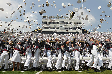 graduation, military, officers, army, soldiers, caps, tossed