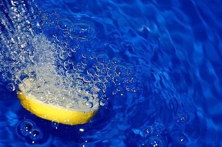 bombolles, l'aigua, el fons, bombolla, abstracció, blau, llimona