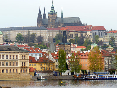 Praha, Moldova, Praha slott, arkitektur, elven, Europa, bybildet