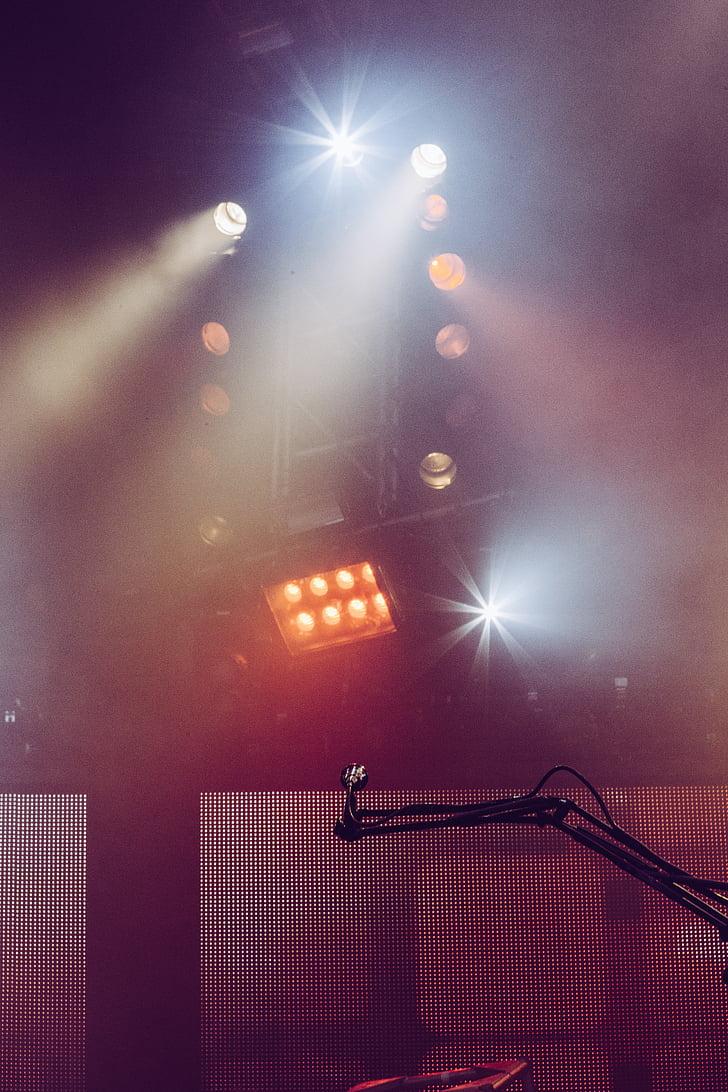 slått, konsert, lys, mikrofon, musikk, scenen, Spotlight