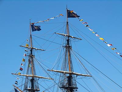two-masted, pirate, navigation, blue sky, sailing Ship, nautical Vessel, tall Ship