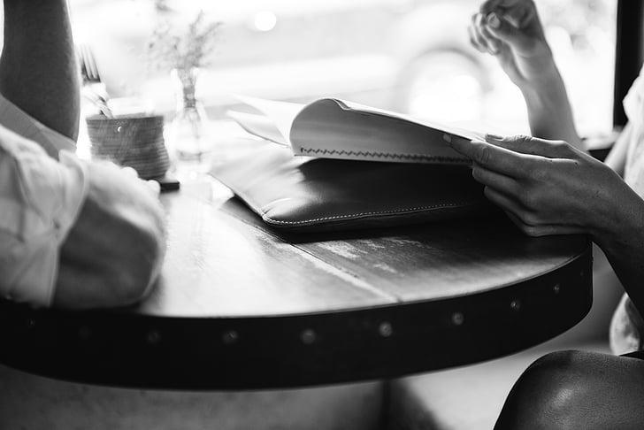 inimesed, Restoran, Tabel, menüü, tellimuse, must ja valge, kohvik