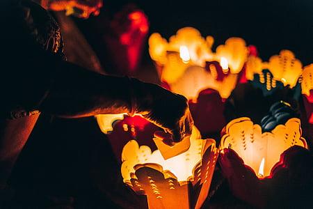 candle, dark, lights, cover, heat, bokeh, hand