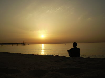 sunset, beach, silhouette, person, observing, dawn, sun
