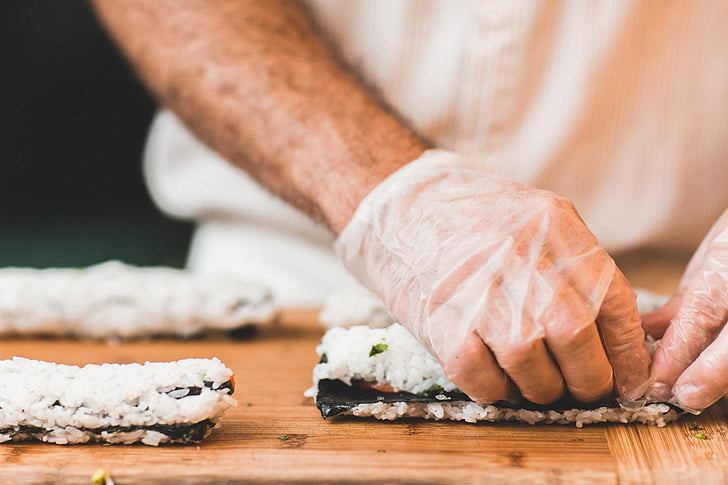 kock, mat, sushi, California rolls, kök, Cook, Matlagning