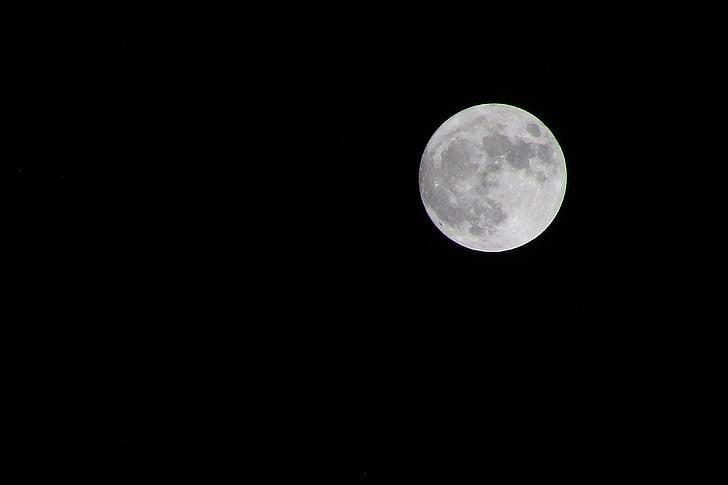 супер місяць, місяць, ніч, повний, supermoon, Темний