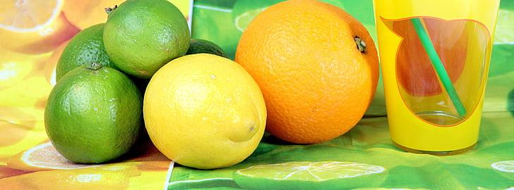 frukter, frukt, citron, Limone, vitaminer, glas, exotiska