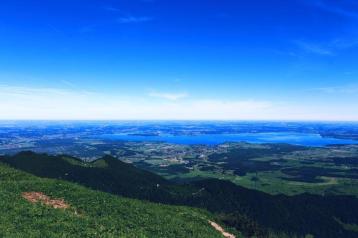 озеро, Панорама, вид, Горизонт, Земля