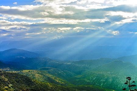 núvols, Alba, llum natural, boira, idíl·lic, paisatge, boira