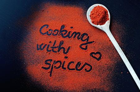 pebre vermell, pebre, cuina, la inscripció, espècies de colors, l'olor de, colors